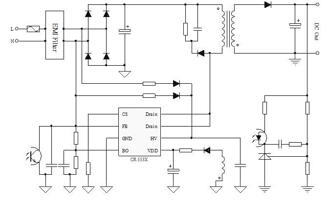 启达授权一级代理商 CR5534可直接替换OB5224 概述: CR5534是一款采用700V高压启动、内置65kHz固定工作频率、30mW超低待机功耗的电流模 PWM 控制芯片,适用于20W以内的全电压范围离线开关电源,满足能效六级标准要求。CR5534内置了同步斜坡补偿电路和动态峰值限制电路;CR553X内置了多种保护功能,频率抖动和软驱动技术改善了EMI性能。CR553X选型参照下表: