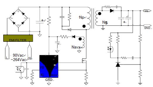 芯片特征: ²低成本、PWM&PFM&CRM (周期复位模式)控制 ²低启动电流(约 3uA) ²低工作电流(约 1.2mA) ²电流模式控制 ²内置同步斜坡补偿 ²低 EMI 技术 ²PWM 频率外部可调 ²轻载工作无音频噪音 ²内置前沿消隐 ²90V~264V 的宽电压下可实现恒定最大输出功率 ²GATE 引脚驱动输出高电平钳位 18.