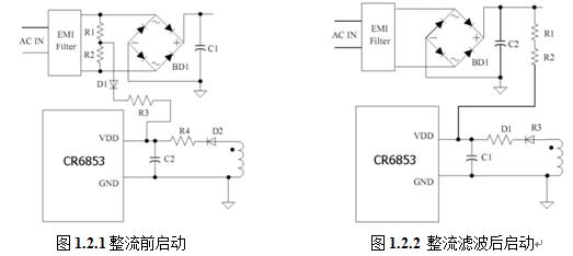 欠压锁定和启动电路:   ⑴, cr6853 具有如下两种启动方式:   1)